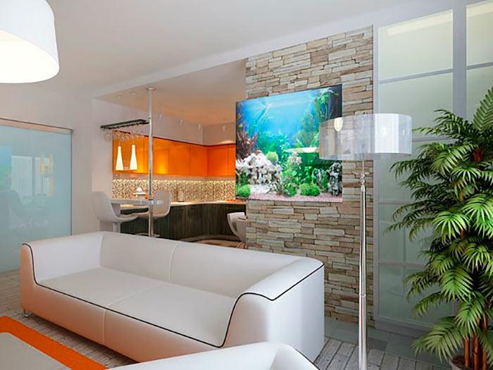 плоский аквариум в гостинной