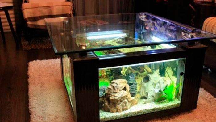 Напольный аквариум в виде журнального столика