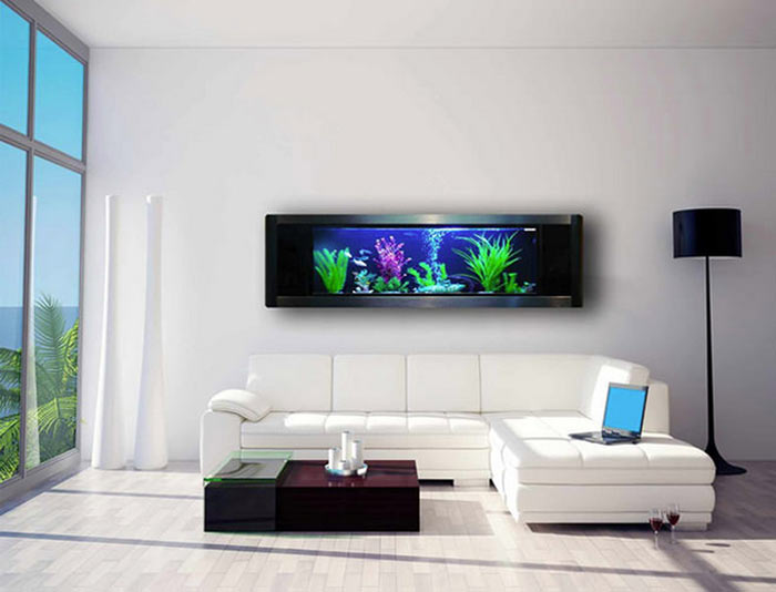аквариум в гостинной, минимализм