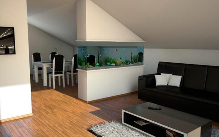 аквариум в гостинной в виде перегородки