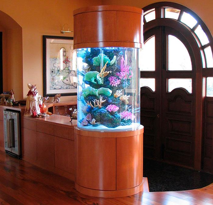 круглый, цилиндрический аквариум